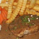 pork steak with black pepper sauce
