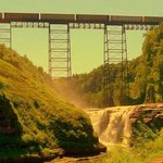 high falls with train crossing overhead