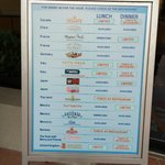 Dining Information Board at Guest Relations