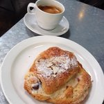 Espresso and almond-chocolate pastry.