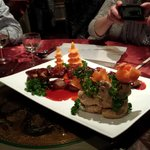 Beef steak bridge with a beautifully hand-carved vegetables
