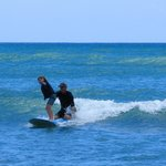 8 year old, tandem surfing