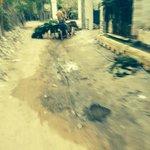 Muddy road at the entrance
