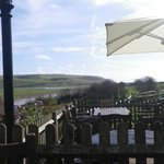 March 2014 view from outside deck seating area towards Cuckmere Haven mouth & sea with Haven Bro