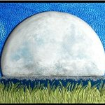 Moon Shadow/Mixed media wall sculpture