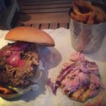 Jerk beef burger and sweet potato fries absolutely lovely xxx