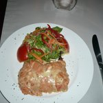 Chicken lasagna with salad