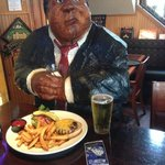 'Norm' having a burger & beer