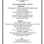 Restaurant dinner menu  Sat 15/03/14