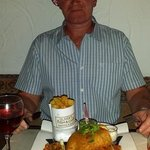 Dave enjoying his fish & chips..