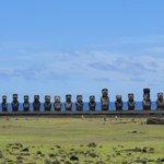 panoramica Moais sitio Ahu Tongariki