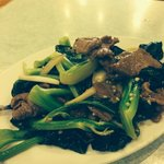 Beef with vegetables stir fry with garlic