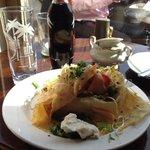 Salmon and horseradish cream crepe/ Lachs mit Meertischcreme Crepe