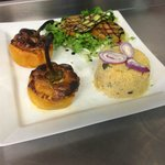 Spicy Lamb stuffed Peppers with  with cous cous & salad