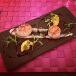 Well presented Scallops with Cauliflower Purée! Absolutely Delicious!
