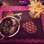 Fillet Steak cooked to perfection with Fries, Salad and Peppercorn!