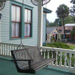 On the porch of the house looking south west