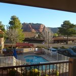 Courthouse Rock and pool from the window