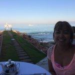 Having breakfast over looking beach area