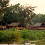 The Chalets straddle the banks of the Mwaleshi River
