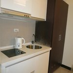 Kitchenette with no pots, pans, cutlery provided