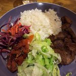 Lamb Shish and salad. This is my favourite dish. It's delicious.