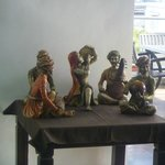 Figurines at entrance to roof top restaurant area
