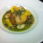 Braised Mahi, shrimp, tomato,  olives, capers, basil