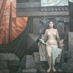 """Concepción, Chile, Casa del Arte-Pinacoteca. Detalle """"Presencia de América Latina""""."""