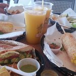 Avovado sandwich, fish soft shelled tacos with mango smoothie