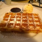 Waffles with Hot Chocolate sauce and Ice-cream