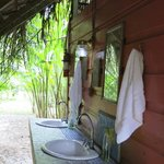 Outdoor sinks for brushing teeth and washing up