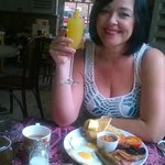 Angie with her complimentary Bucks Fizz!