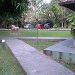 Vista da porta do restaurante do hotel