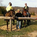 Riding Larry and Duke with owner, Dave, in the center.