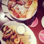 Mixed grilled skewers & the mardi gras pasta!