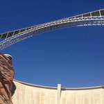 View of Glen Canyon Dam and Bridge from the River
