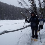 Snowshoeing along the river