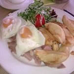 Ham egg and chips for simpler tastes.