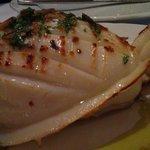 Monster cuttlefish starter, with yummy roast garlic.