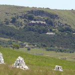 Looking at the hotel perched halfway up the hill - white stones mark the graves of British dead.