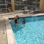 The girls enjoying the pool at La Quinta Inn Hotel in Orlando