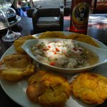 Fish ceviche with plantains