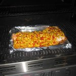 Cooking Salmon topped with Mango Salsa on the Gas Grill!