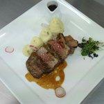 Lamb rump, mash potato and smoked garlic jús
