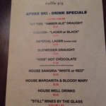 Happy hour food menu 2:30-5:30 pm