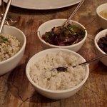 Entree sides incl risotto, rice, beans, at Yemanja, Aruba