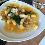 Kula corn gnocchi w/ roasted cauliflower & sautéed spinach