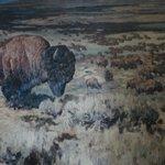 Jackson Lake Lodge - painting of bison