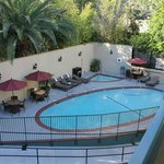 Overhead view of pool in back